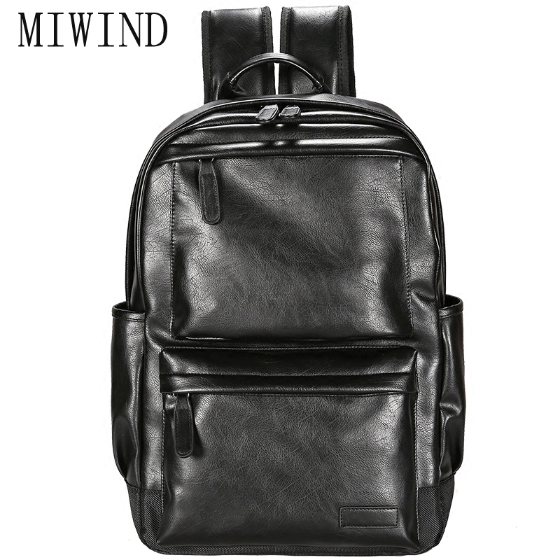 MIWIND2017 Men Leather Backpack High Quality Youth Travel Rucksack School Book Bag Male Laptop Business bagpack  TCR371 men backpack top quality leather shoulder bags school bag book rucksack for male travel tote bagpack mochila