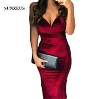 Burgundy Velvet Short Prom Dresses for Girls Sweetheart Knee Length Side Slit Night Party Dresses gala jurken dames SP04