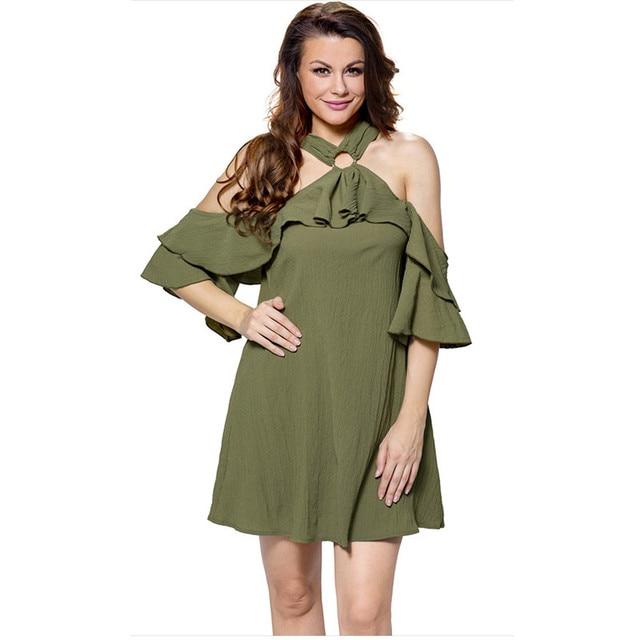 2018 Summer New lovely Style A-line Loose Dresses Women Off Shoulder Halter  Neck Adorable Sexy O Ring Detail Ruffle Beach Dress ca366da1916e