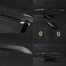 Black  Blade Katana Sword Sharp Full Tang Japanese Samurai Sword Hand Forged Folded Steel Knife