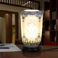 Darmowa wysyłka chiński styl niebieski i biały porcelany ceramiczna lampa stołowa