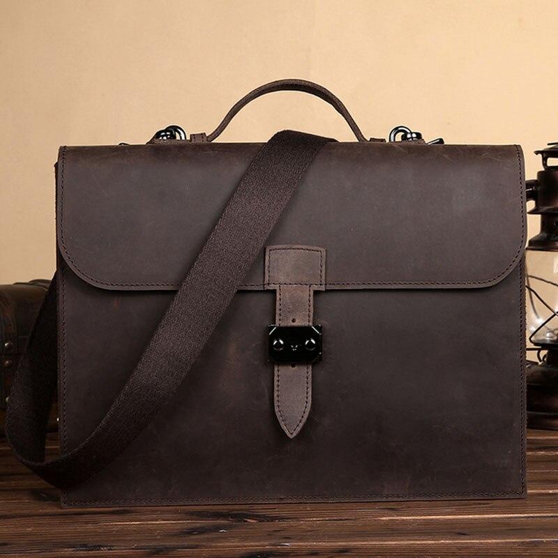 BULLCAPTAIN Men Crazy Horse Cowhide Business Bag High Quality Vintage Laptop Handbag brand Messenger Shoulder Bags Leather Bag цена и фото