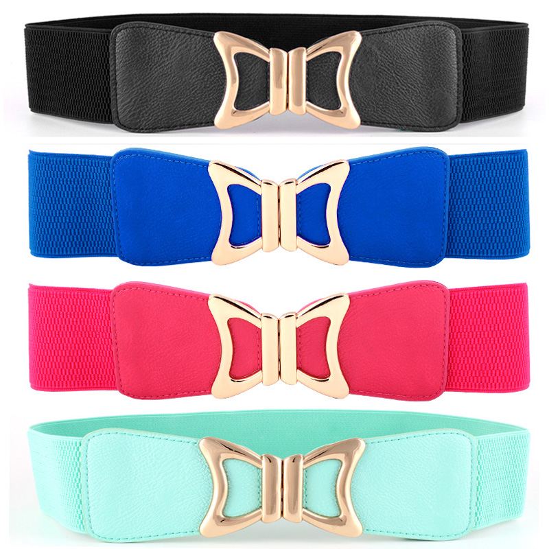 Women Lady Golden Bow Buckle Elastic   Belt   Faux Leather Stretch Waist Band BLTYN0002