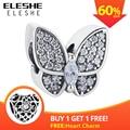 ELESHE Fit Original Pandora Charms Bracelet 925 Sterling Silver CZ Crystal Butterfly Beads DIY Jewelry Making Valentine's Day