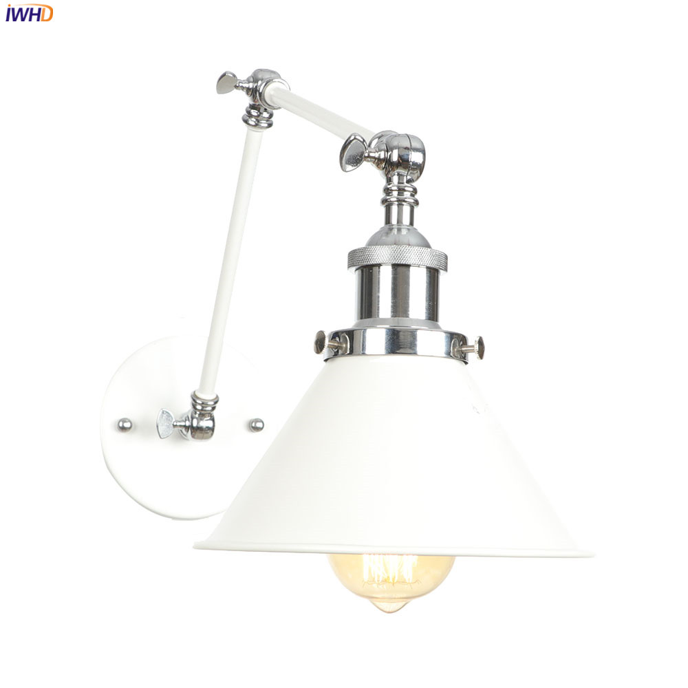 IWHD White Long Arm Vintage Wall Lamp Beside Bedroom Living Room Edison Loft Industrial Style Retro Wall Lights Fixtures LED