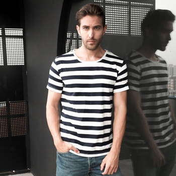 Zecmos Navy Striped Sailor T-Shirt Men Summer Black And White Loose T Shirt Horizontal Sea Style