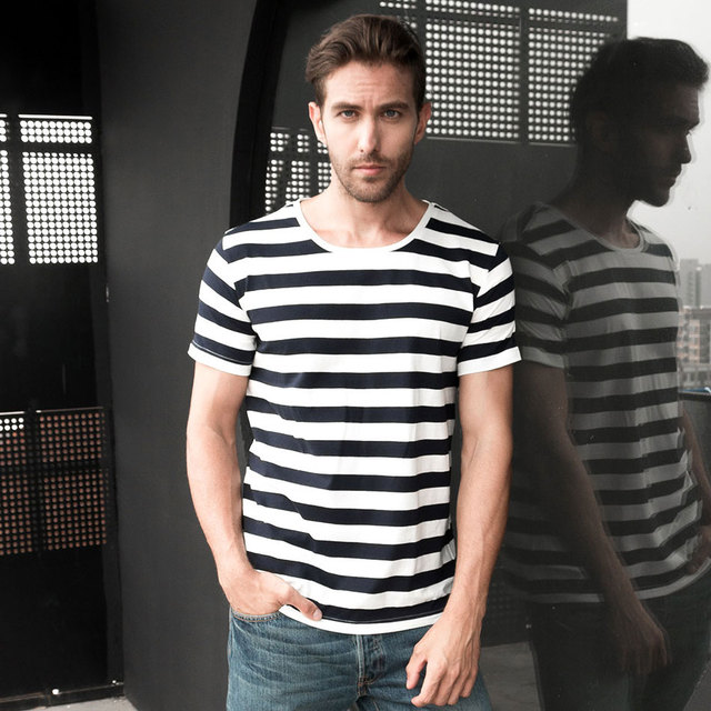 600a33e04bc Zecmos Navy Striped Sailor T-Shirt Men Summer Black And White Striped Loose  T Shirt Men Horizontal Sea Style