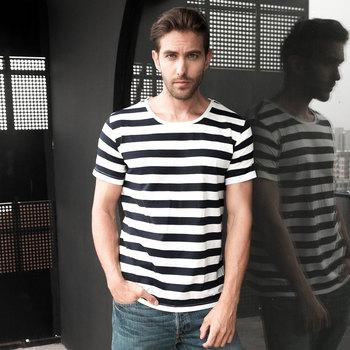 Zecmos Navy Striped Sailor T-Shirt Men Summer Black And White Striped Loose T Shirt Men Horizontal Sea Style
