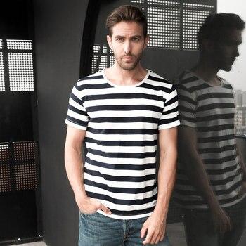 Zecmos azul marino rayas marinero camiseta hombres verano negro y blanco rayado suelta camiseta hombres Horizontal estilo del mar