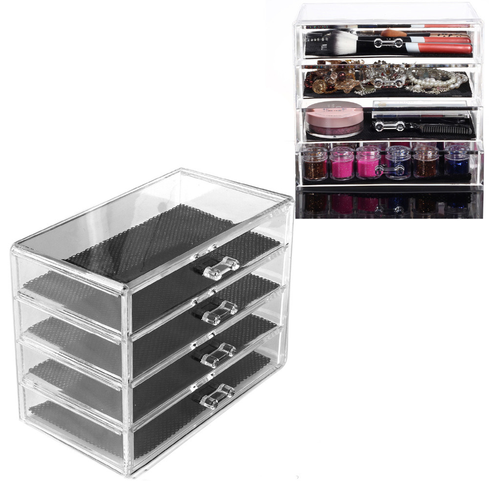 Behogar 4layer Clear Cosmetic Drawers Jewelry Ring Makeup Storage Display Organizer Box Make Up Case Container Stand Holder Rack In Bo Bins