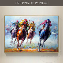Skilled Painter Team Directly Support High Quality Polo Oil Painting on Canvas Hand-painted Sport for Wall Art