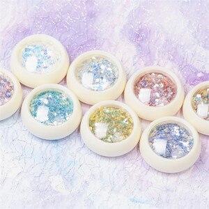 Image 3 - 8Pcs/Set Mermaid 3D Glitter Nail Flakes Hexagon Colorful Sequins  UV Gel Polish Sparkling Powder Dust DIY Charm Glitter Flakes