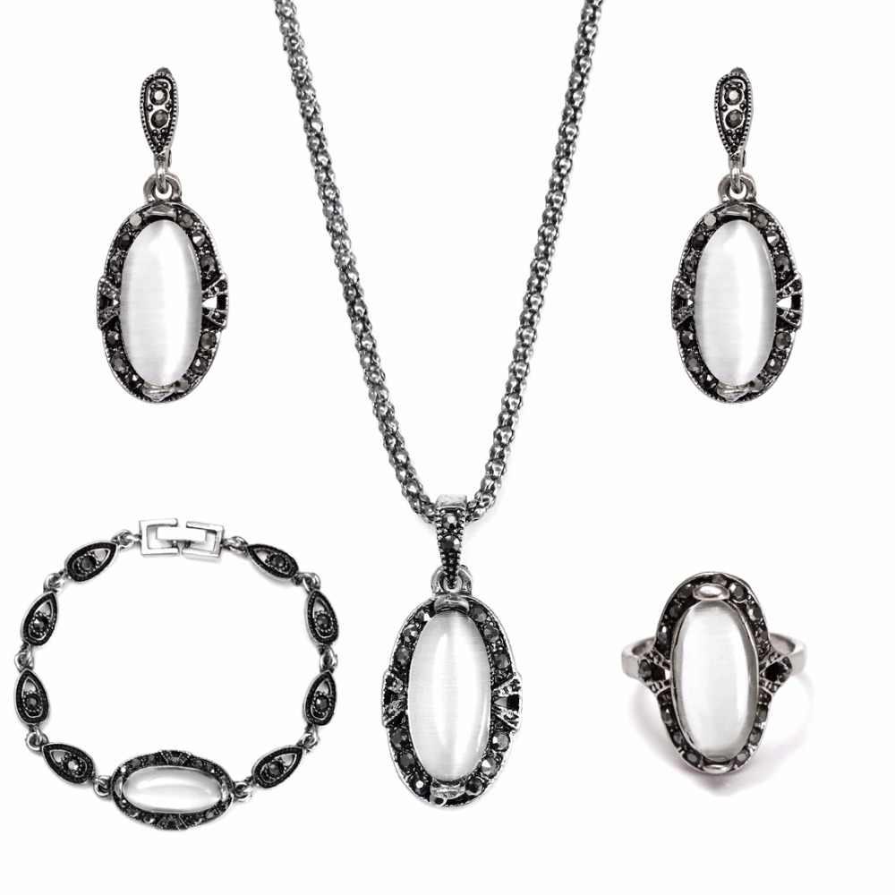 Schmuck Set 1 Set Vintage Withe Frische Anhänger Halskette Ohrringe Armband und ring Für Frau parure bijoux femme