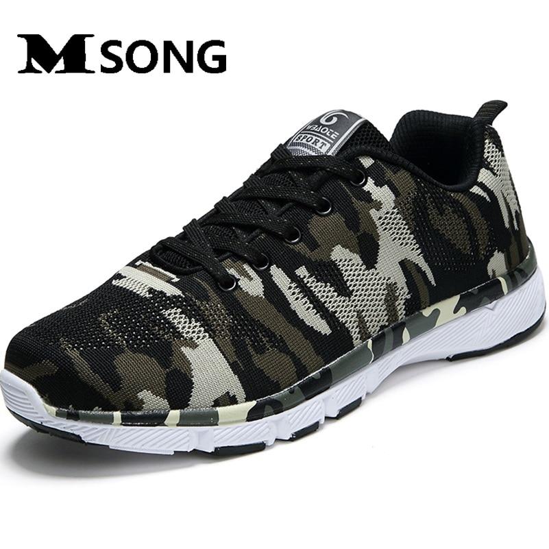 MSONG 2017 Spring Air Mesh Zapatos de Los Hombres de Camuflaje Militar de Los Ho
