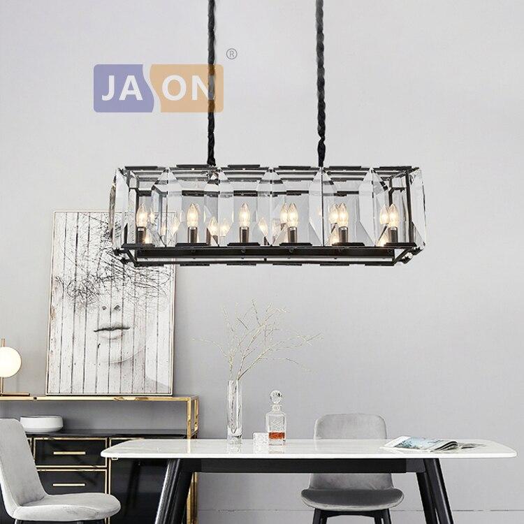 led e14 Postmodern Crystal Iron Gold Black Chandelier Lighting Lustre Suspension Luminaire Lampen For Foyer|Chandeliers| |  - title=