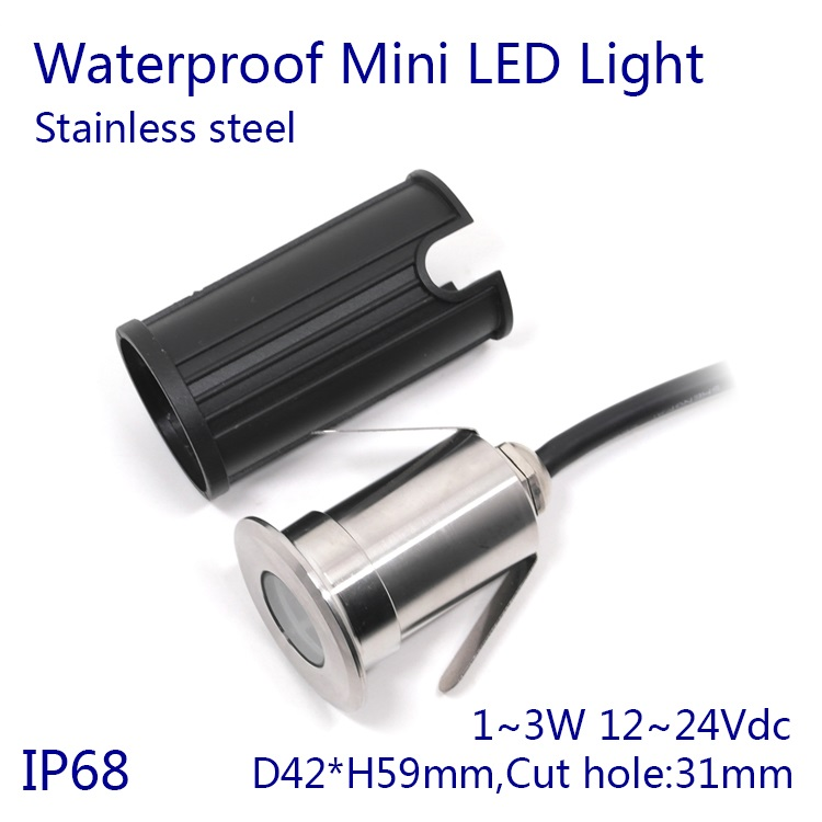 D42xH59mm Dimmable 3W Stainless Steel DC12~24V IP68 Waterproof LED Underwater Swimming Pool Light Lamp Free Shipping