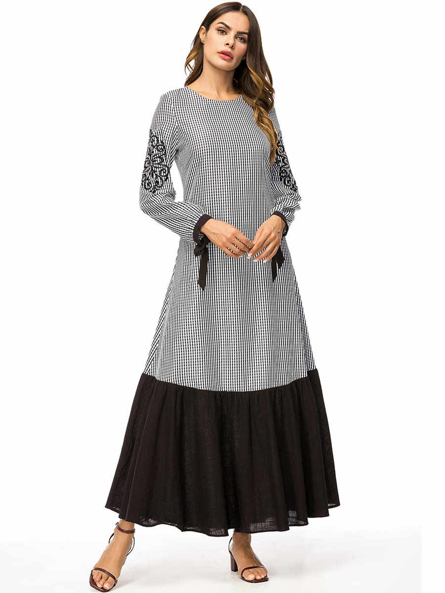 イスラム教徒刺繍アバヤチェック柄マキシドレス綿着物ロングローブガウンプラスサイズ Jubah ラマダン中東アラブイスラム服