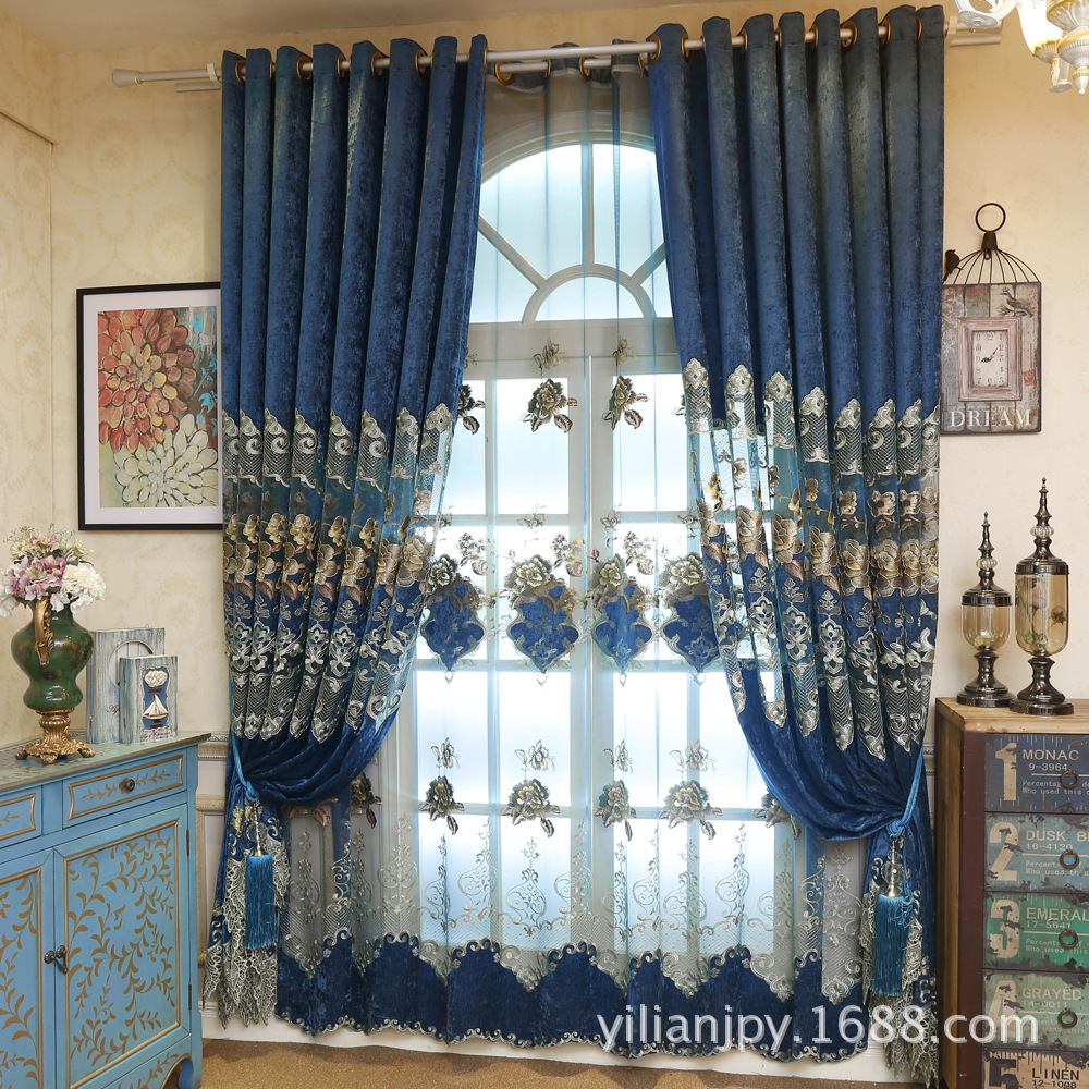 Curtains for bedroom 2016 - 2016 Hot Custom European Royal Blue Big Flower Luxury Curtains For Living Room Embroidered Voile Drapes