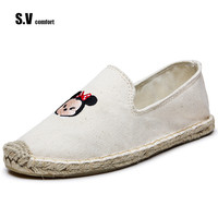 SV Brand Women Slipper Old Beijing Boho Cotton Linen Canvas Minnie Shoes Cartoon Handmade Woven Round