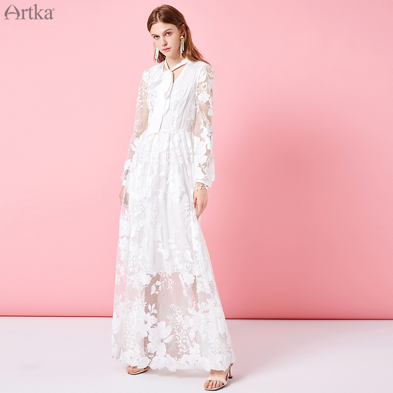 ARTKA 2019 Spring New Lace Long Dress For Women Fashion Lace Sexy V Neck Lady White