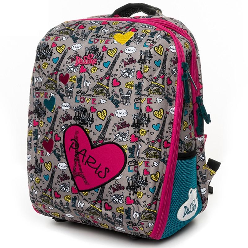 Delune School Bag For Children Backpacks Orthopedic School Backpack For Girls Boys Pattern Schoolbag Mochila Infantil Grade 1-5 unme children schoolbag for grade 1 3 girls backpack waterproof leather light for boy