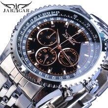 лучшая цена Jaragar Mens Watches Silver Date 3 Dials Top Brand Luxury Automatic Mechanical Watch Steel Band Business Sport Relogio Masculino