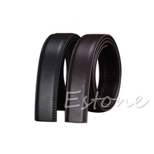 """Luxury Men""""s Leather Automatic Ribbon Waist Strap Belt Without Buckle POP free  shipping"""
