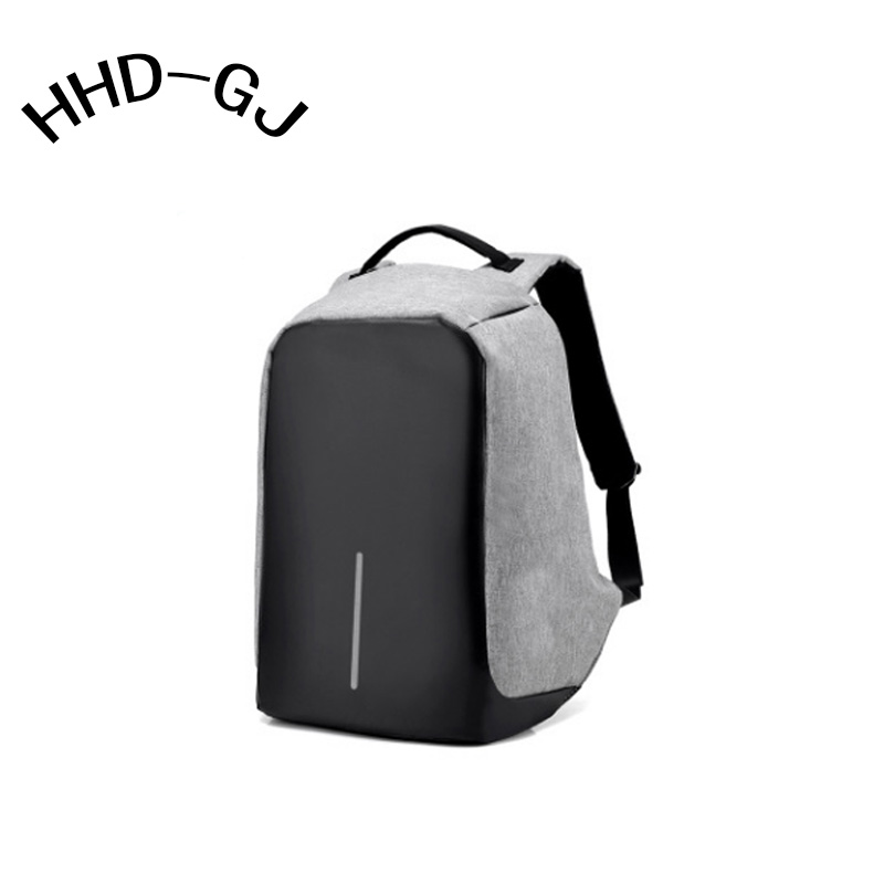 HHD-GJ Canvas Men's Anti Theft Backpack Bag USB Charge 15 Inch Laptop Notebook Backpack For Men Waterproof Travel Back Pack Bag