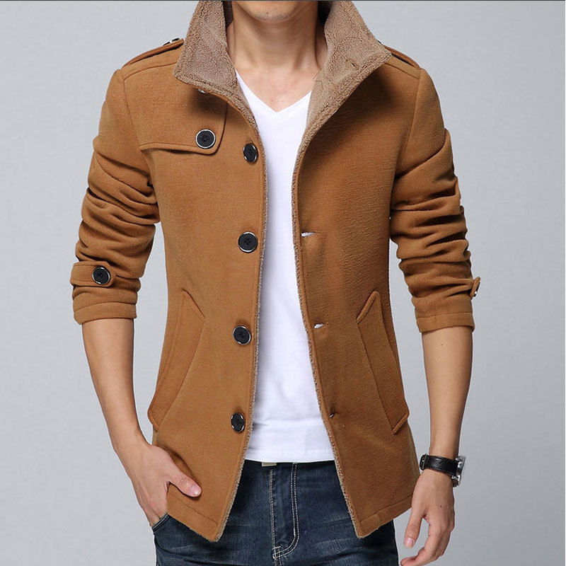 2015 New Arrival Fashion Men Wool Jacket Coat Thicker Keep Warm ...