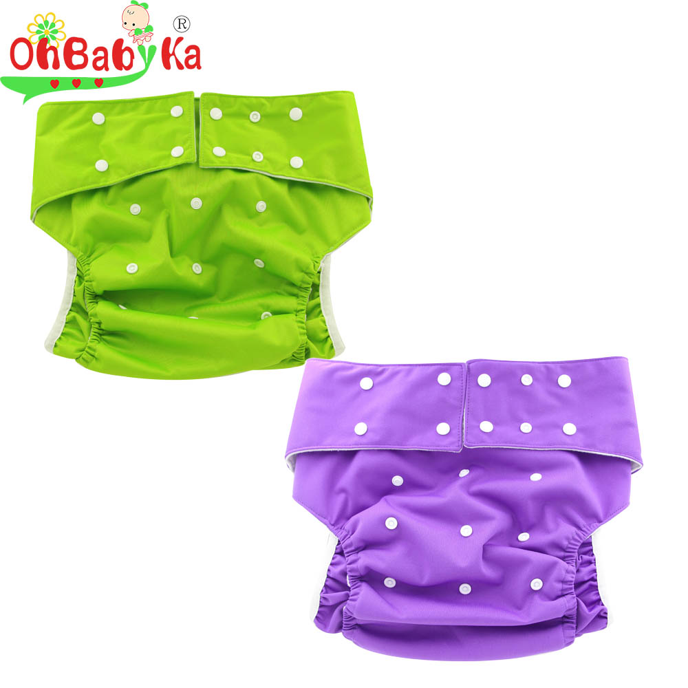 OhBabyKa Reusable Adult Diapers For Urinary Incontinence With Microfiber Insert Absorbent Pad For Overnight Leakproof 4pcs