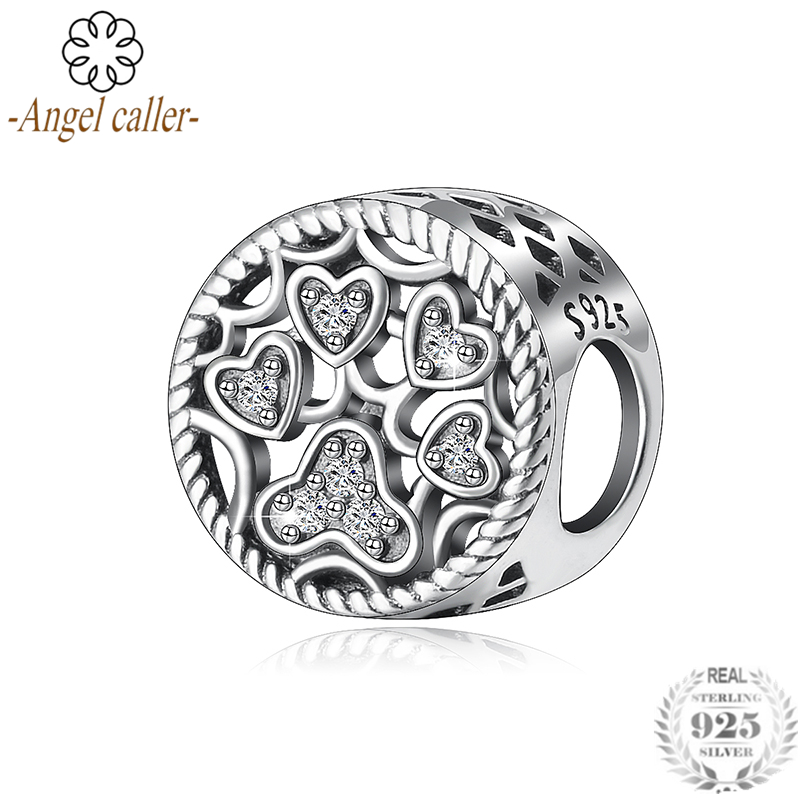 Angel Caller Popular 925 Sterling Silver Dazzling Cz Heart Crystal Pave Charm Beads Fit Charm Bracelet Bangles Jewelry Cyz074 Numerous In Variety Jewelry & Accessories Fine Jewelry