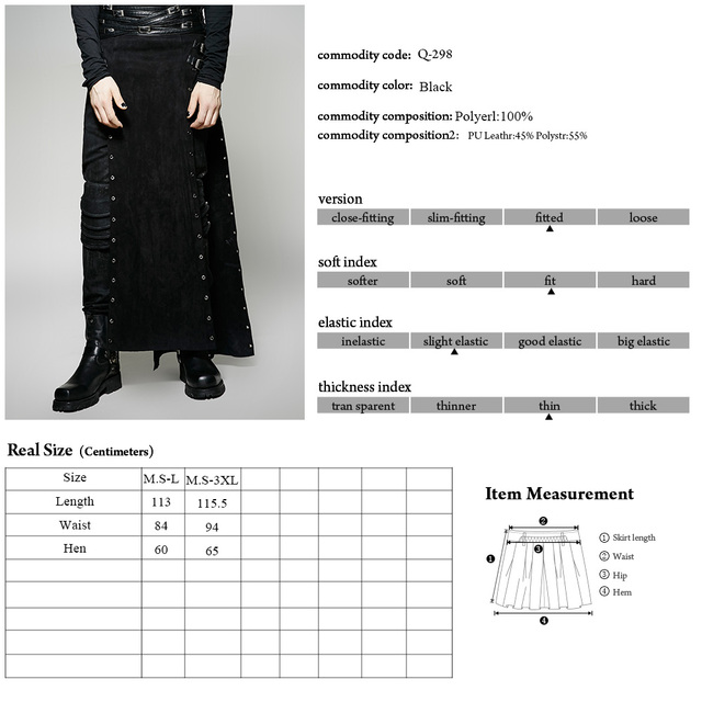 New Punk Rave Gothic Rock Mens Skirt Pants Cargo steampunk Brand quality Q298 MALE
