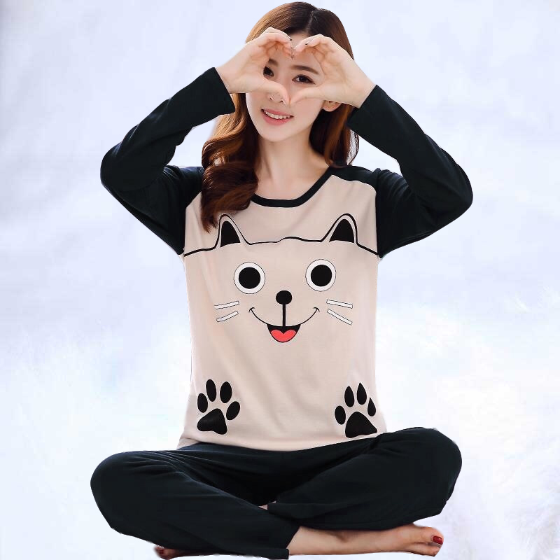 2019 Women   Pajamas     Sets   Autumn Winter Long Sleeve Thin Print Cute Sleepwear Big Girl Pijamas Mujer Leisure Student   Pajama