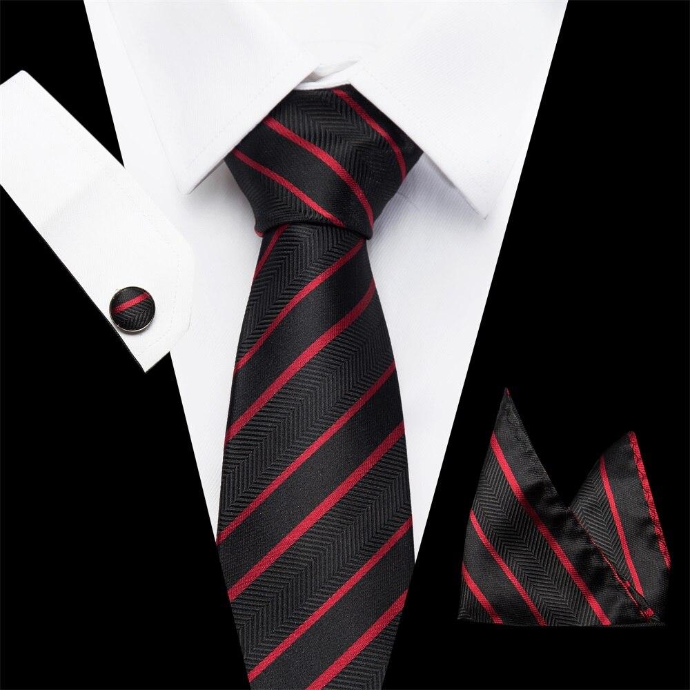 Joy Alice Brand Silk Ties For Men Wedding Necktie Paisley Striped Print Black Red Mens Tie With Match Handkerchief 3pcs Set S59