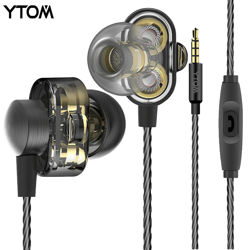 YTOM HIFI  Double Unit Drive In Ear Metal Earphones DJ J Bass Subwoofer Earphone With Mic MP3 MP4 earbuds headset auriculares new hifi a8 dynamic unit in ear earphone earbuds diy super bass earphones with mmcx calbe bass headset for smartphone