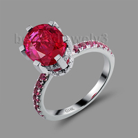 Oval 8x10mm Red Ruby Ring Solid 14Kt White Gold Womens Wedding Ring SR00150H