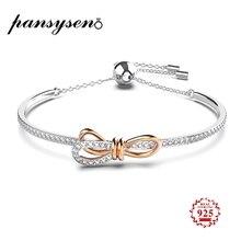 PANSYSEN Luxury Original Bow-Knot Design Charms Bracelets for Women Genunie 925 Sterling Silver Bracelet Wholesale Fine Jewelry