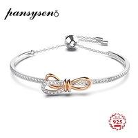 PANSYSEN Luxury Original Bow Knot Design Charms Bracelets for Women Genunie 925 Sterling Silver Bracelet Wholesale Fine Jewelry