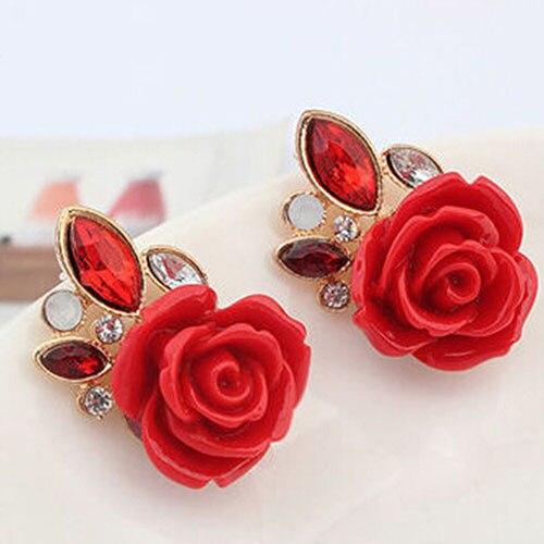 Indumentaria femenina ladies crystal retro elegant rose flor stud pendientes 88b