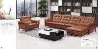 Top graduada italiano genuíno sofá de couro seccional sala de estar sofá chesterfield sofá em forma de L com botões de cristal SF314 estoque