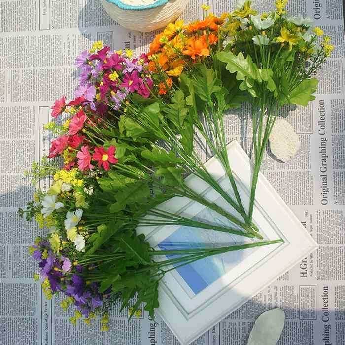 1 花束 7 支店 28 ヘッドかわいいシルクデイジー人工装飾フラワーウエディングフラワーブーケホームルームテーブル装飾
