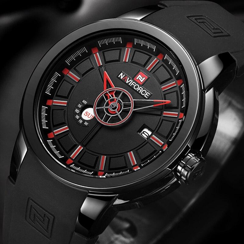 Mens Montres Haut De Luxe Marque NAVIFORCE Sport Montre Hommes Militaire En Caoutchouc Quartz-montre Étanche Homme Horloge Relogio Masculino
