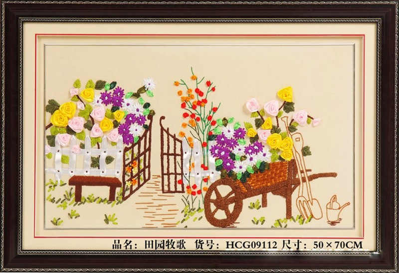 Ribbon Embroidery Kits Colorful Flower Ribbon Cross Stitch Painting 70x50cm