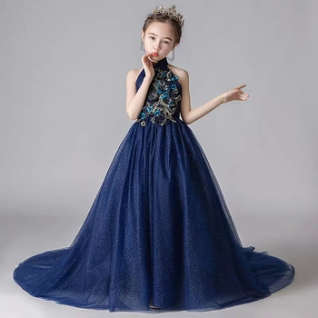 4~14Yrs Children Model Show Elegant Luxury Embroidery Flowers Long Tail Mesh Dress Girls Kids Birthday Evening Party Prom Dress