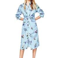 Bohemian Style Vintage Bloem Jurk Mode Ontwerp Twisted Tie Vrouwen Jurken Casual Slim knielange Jurken 2018 Nieuwe