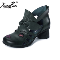Handmade Sandals Women S Shoes Personalized National Trend Unique Genuine Leather Cool Boots High Back Zipper