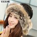 Sombrero de invierno Mujer Bufandas Gorros Gorro de Piel Más Cálido Sombreros Para mujeres Baggy Knit Caps Capó del Esquí de Las Señoras de Invierno Gorro de Lana Sombrero 2016