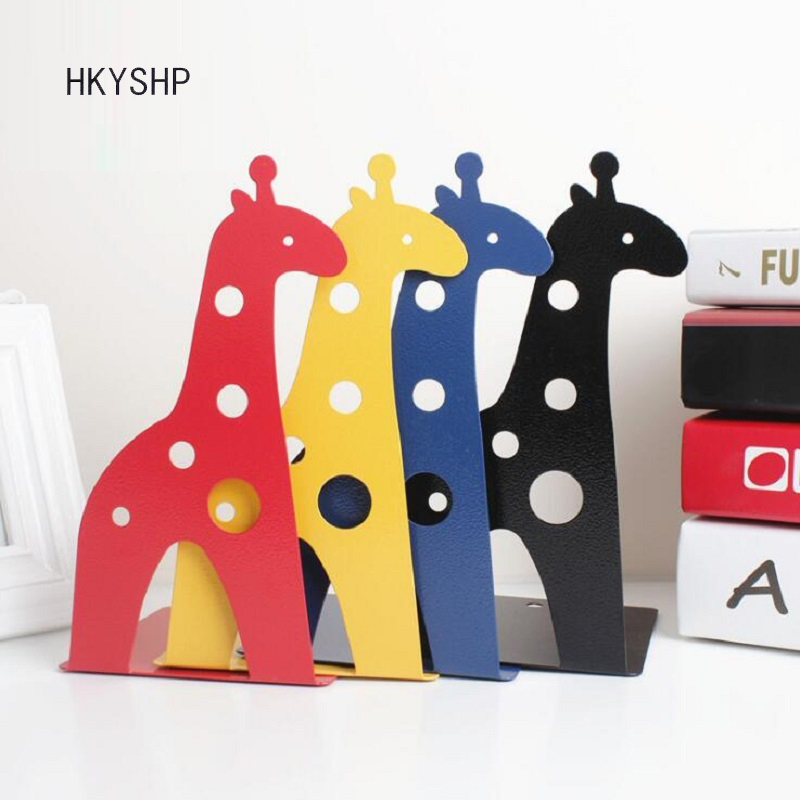 HKYSHP 2 pcs / pair Cute giraffe metal bookends creative book shelves stationery stand School office supplies цена