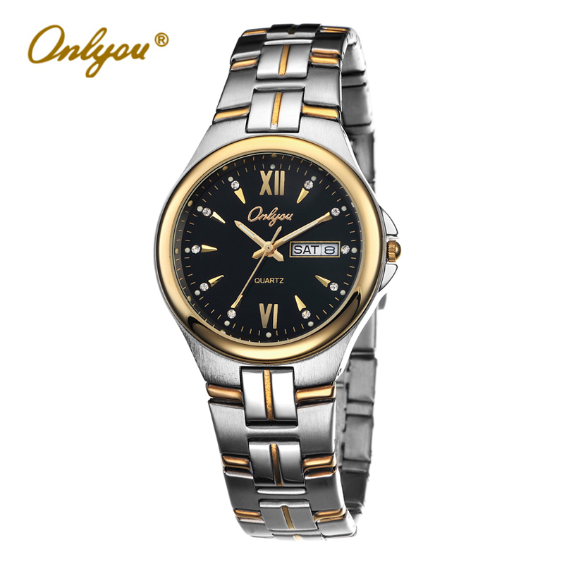 ФОТО Onlyou Luxury Brand Wrist Watches for Women Men Business Quartz Movement Stainless Steel Ladies Silver Watch Clock 8696