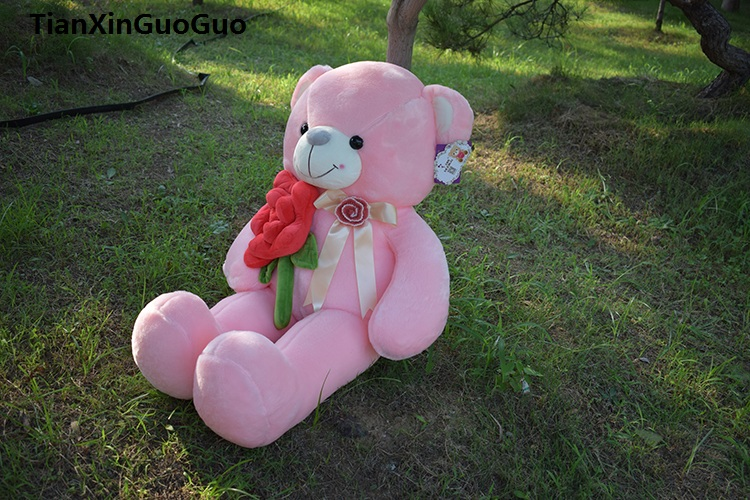 цена на stuffed fillings toy large 100cm hug red rose flower pink teddy bear plush toy soft doll throw pillow birthday gift s0621